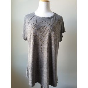 Lucky Oversized Gray Brass Studded Tunic Tee LG